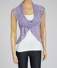 "This Purple Crocheted Vest - Women by Shoreline is perfect! #zulilyfinds.. <3 this as it reminds me of something my grandmother could make for me, if still alive.  Style is cute, love purple too!  May just get one. But large breasted, dunno bout that flouncy neck area.  No ""Dolly Parton"" look for me.  I hate looking very busty."