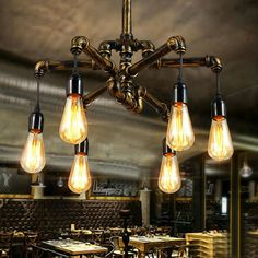 Details about Vintage Industrial Chandelier Pendant Light Lamp Steampunk Pipe Ceiling Fixture - All For Decoration Lampe Industrial, Industrial Ceiling Lights, Vintage Industrial Lighting, Industrial Light Fixtures, Industrial Pendant Lights, Pendant Lighting, Diy Pipe Light Fixture, Dim Lighting, Club Lighting