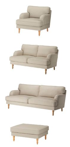 Enjoy great comfort and great design details like handcrafted wooden legs with our generously-sized STOCKSUND series. The traditional-style seating has a soft, rounded shape, seat cushions with a core of pocket springs for long-lasting comfort and machine-washable covers.
