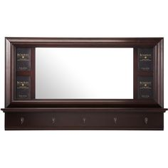 Wall mirror with four photo insets and five coat hooks.Product: Wall mirrorConstruction Material: Solid wood and ...
