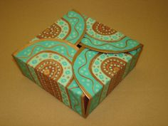 Chocolate-Turquoise Small Square Box - made up  (26)