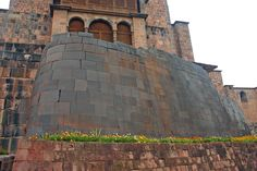 Inca stone wall from the temple of Coricancha, Cuzco, Peru