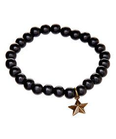Gleeful Peacock Black Bead & Star Charm Stretch Bracelet | zulily