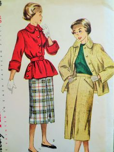 Vintage Simplicity 3344 Sewing Pattern, 1950s Skirt Pattern, 50s Jacket Pattern, Bust 30, Inverted Pleated Skirt, Vintage Sewing Supply by sewbettyanddot on Etsy