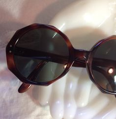 Awesome Vintage Sunglasses France Multi Sided Brown Tortoise Shell Dark Green Glass Jackie Kennedy Onassis  50/20 by MarveltyVintage on Etsy