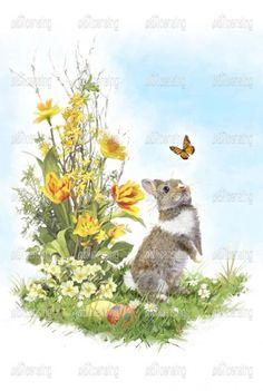 Easter Wallpaper, Spring Wallpaper, Rabbit Wallpaper, Easter Illustration, Cottage Art, Wildlife Paintings, Bunny Art, Vintage Easter, Nursery Art