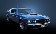 mustang pictures | 1969 Ford Mustang - Blue Hardtop Wallpaper - Right View | 1680_07