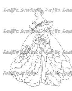 Mary Pickford Fancy dress Digital Stamp Image via Etsy