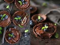 Wholegrain Eggless Chocolate Blueberry Tarts …as pretty as pretty can be.These are a few of my favourite flavours and colours. The tart shells are wholegrain with buckwheat and wholewheat f…