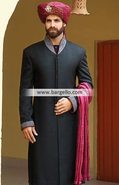 Abstemious Embroidered Jamawar Groom Sherwani Ypsilanti Michigan US Black Designer Men Sherwani