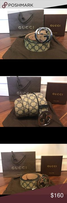 Gucci Blue Monogram Canvas Belt Silver GG Buckle Authentic Gucci Blue Monogram Canvas leather belt with interlocking GG Silver Buckle - beige suede on the opposite side. This belt is brand new attached with tags. Comes with dust bag, box & Gucci shopping bag. This belt is unisex (can be worn by men or women). Always fast shipment & guarantee satisfaction! Gucci Accessories Belts