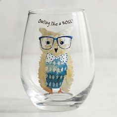 With our handblown glass featuring a dapper owl, you can make any drink a real hoot.