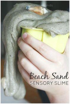 Easy Beach Sand Slime Recipe for Sensory Play