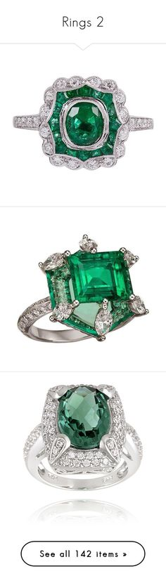 """""""Rings 2"""" by thesassystewart on Polyvore featuring jewelry, rings, green, vintage emerald ring, deco ring, deco diamond ring, diamond jewelry, 18k diamond ring, emerald jewellery and diamond jewellery"""