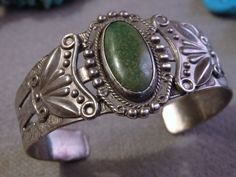 RARE Old Pawn 1920s NAVAJO ORVILLE JACK TURQUOISE STERLING Slvr THUNDERBIRD CUFF