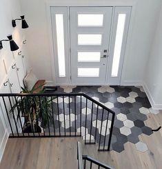 Küchen Design, House Design, Floor Design, Home Interior Design, Interior Decorating, Olympia Tile, Tiled Hallway, Hexagon Tiles, Beach Cottages