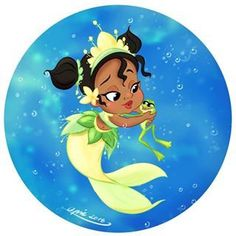 Tiana [as a child mermaid feat. Naveen as a frog] (Drawing by ApicolloDraws Disney Princess Tiana, Disney Princesses And Princes, Princess Movies, Sailor Princess, Disney Pixar, Baby Disney Characters, Disney Magic, Cartoon Characters, Walt Disney