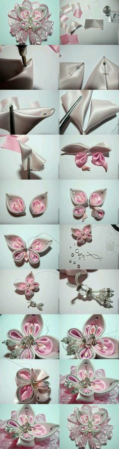 kanzashi mariposa tutorial butterfly This would look amazing on a headband! Ribbon Art, Diy Ribbon, Fabric Ribbon, Ribbon Crafts, Flower Crafts, Ribbon Bows, Fabric Flowers, Fabric Crafts, Sewing Crafts