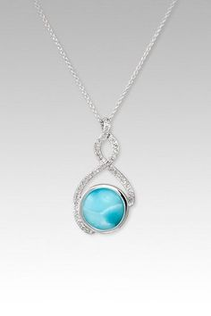 MarahLago Adella Collection Larimar Pendant/Necklace with White Sapphires