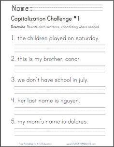 Free Printable Capitalization Challenge Worksheet First Grade