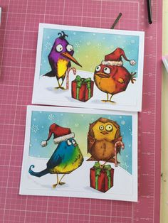 Love these crazy birds, endless possibilities. Inside says. Hope your Christmas is crazy good! Crazy Bird, Crazy Dog, Crazy Cats, Crazy Animals, Dog Cards, Bird Cards, Tim Holtz Stamps, Purple Cards, Scrapbooking