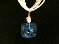 Fused glass blue dichroic wire wrapped necklace