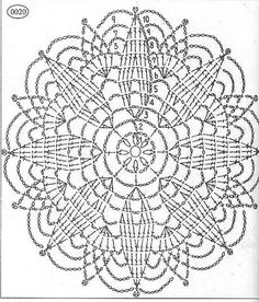 openwork crochet napkins schemes described for beginners: 25 thousand images found in Yandeks. Crochet Doily Diagram, Crochet Mandala Pattern, Crochet Circles, Crochet Doily Patterns, Crochet Chart, Crochet Squares, Thread Crochet, Crochet Granny, Crochet Stitches
