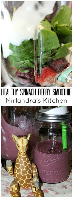 """This Healthy Spinach Berry Smoothie with Greek Yogurt is delicious. You can't taste the spinach but it's a full serving of veggies and two servings of fruit.  This was the smoothie that converted me from spinach hater to daily spinach """"drinker.""""   Tip:  B"""