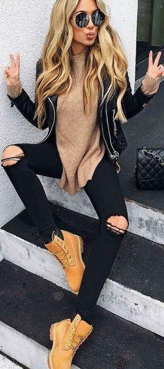 beige + black outfit idea