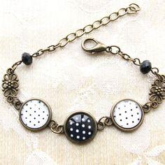 Bracelet vintage, cabochon verre pois noir et blanc n.01