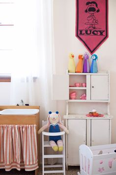 Mirabelle the Bunny in this Toddler room with sweet vintage elements