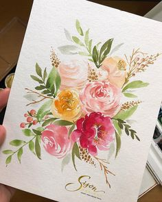 Shot of yesterday's process vid Added a few details for the finishing touches✌. Watercolor Cards, Watercolour Painting, Floral Watercolor, Painting & Drawing, Watercolors, Watercolor Trees, Watercolor Artists, Watercolor Portraits, Watercolor Landscape