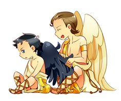 SPN: Angel Bros by proving-my-existence Supernatural Angels, Castiel, Supernatural Gabriel, Supernatural Merchandise, Sad Angel, Stupid Kids, Manga, Superwholock, Anime