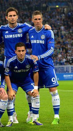 Frank Lampard, Eden Hazard and Fernando Torres. Chelsea Football, Chelsea Fc, Chelsea Champions, European Soccer, Eden Hazard, Football Program, Tottenham Hotspur, Liverpool Fc, Champions League