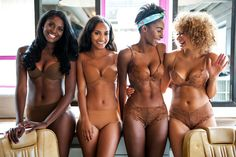 Nubian Skin's t-shirt bra in Berry, t-shirt bra in Caramel, lace set in Cinnamon and lace set in Cafe Au Lait.