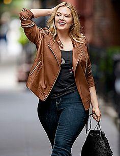 Sexy plus size leather jacket