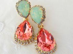 Peach coral mint Chandelier earrings, Bridal earrings, Dangle earrings, Drop earrings, Weddings jewelry, Peach coral mint Swarovski earrings