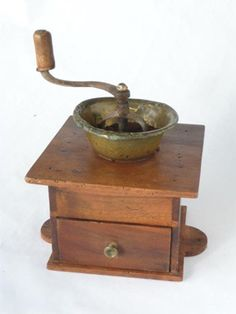 Antique French Artisand Made Coffee Grinder
