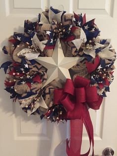 Patriotic Wreath, Primative Americana Wreath, Fourth of July Wreath, Memorial Day Wreath, Burlap Wreath, Wreath, America Wreath, USA Wreath  by RoesWreaths on Etsy https://www.etsy.com/listing/235938363/patriotic-wreath-primative-americana