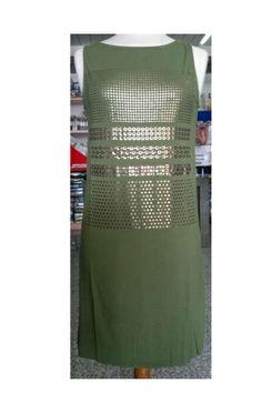 Abitino Ragno in viscosa, verde militare con inserti color bronzo, rifiniture taglio laser