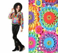90s does 70s Rainbow Crochet Shirt  Crochet by HowToCatchaGhost