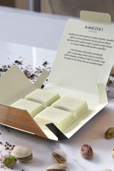 #White #Chocolate selection with #pistachio, sublime. #AmedeiTuscany #bars