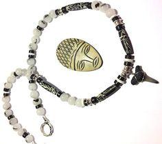 Black Tourmaline and Tribal Carved Bone by BranstoneMagicMaster, $45.00
