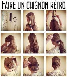 tutoriel coiffure pour faire un beau chignon rétro by nicole