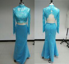 Two Piece Long Prom Dresses 2015 Women Open