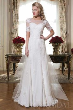 Fit And Flared Half Sleeves Tulle Destination Wedding Dress