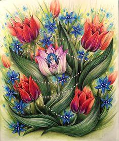 #mariatrolle #coloringforadults #adultcoloringbook #coloringhobby #skymningstimman #tulips #prismacolor