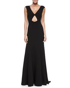 V-Neck Gown with Cutout, Black by Michael Kors Collection at Neiman Marcus.