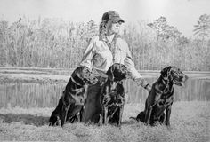"""""""Nothing Runs Like These Deers"""" A graphite of my friend Terry and her three labs at the Outback training ponds near Thomasville, GA."""