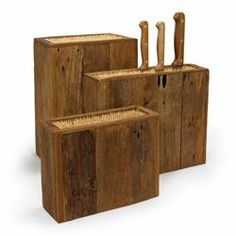 Reclaimed Wood Knife Holder with Bamboo Sticks